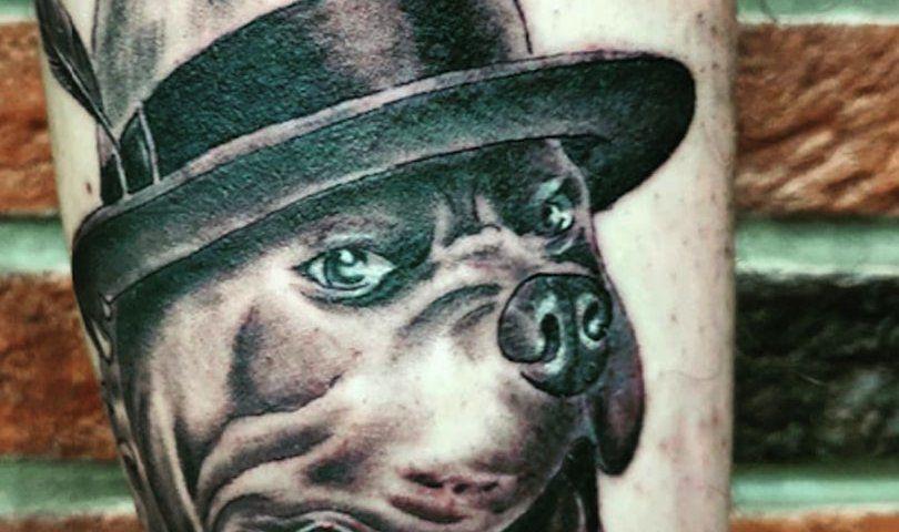Сделать тату на руке собака в Красноярске фото