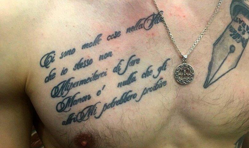 Сделать тату на груди стихи в Красноярске фото