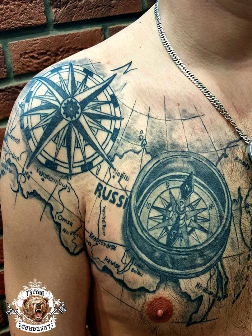 Сделать тату на груди компас в Красноярске фото