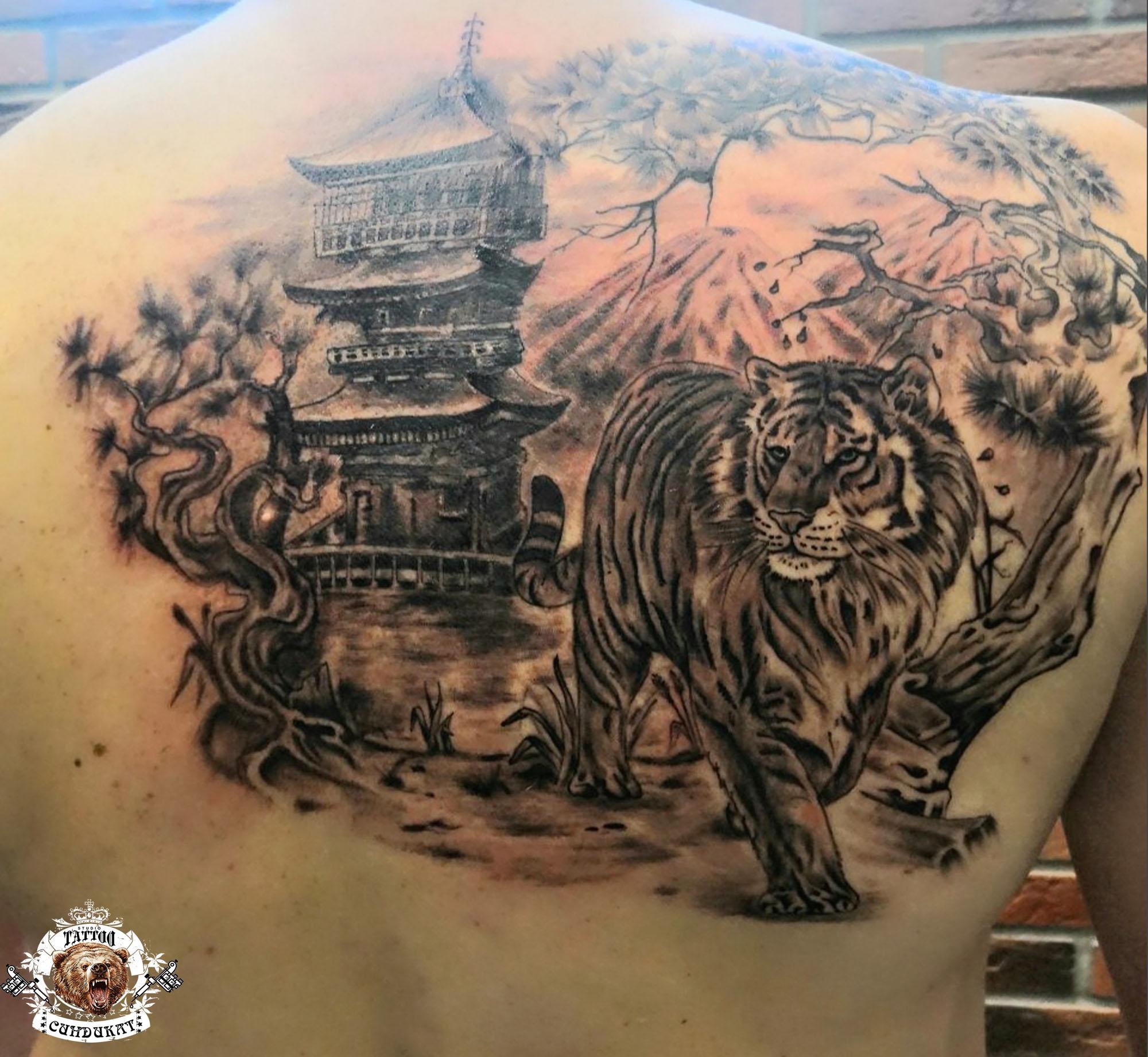 тату на спине тигр