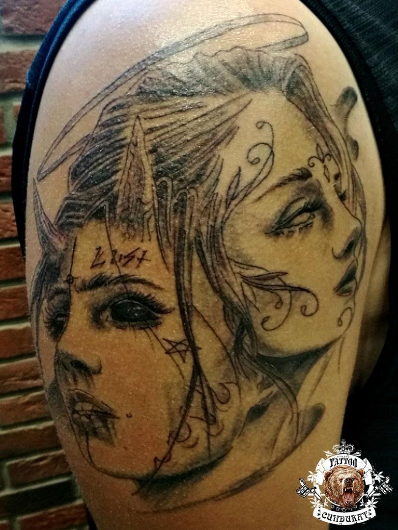 сделать тату на плече лица женские в Красноярске
