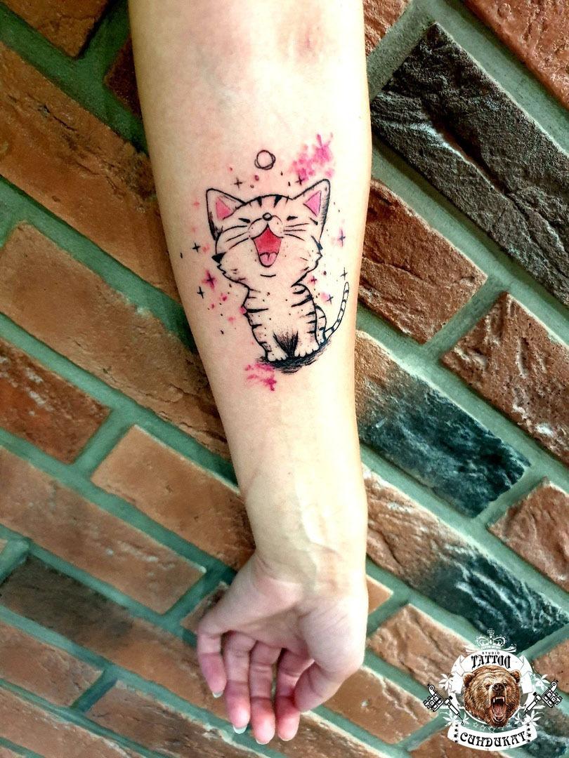 сделать тату на руке котенок