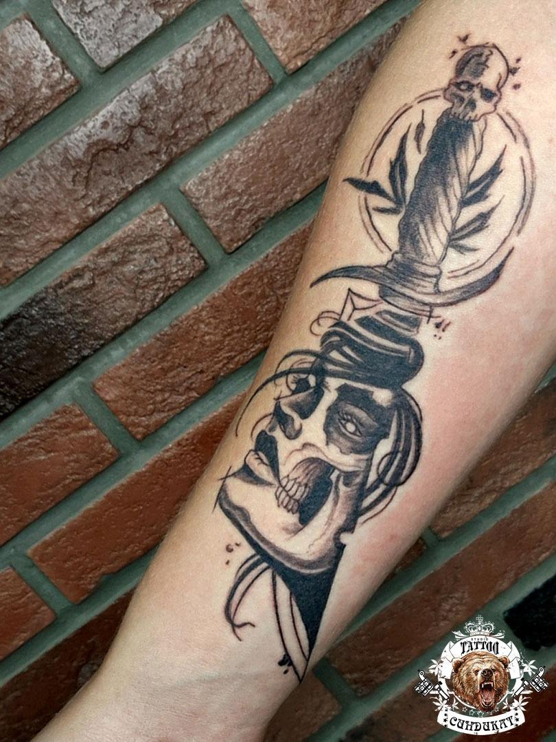 сделать тату на руке кинжал чикано