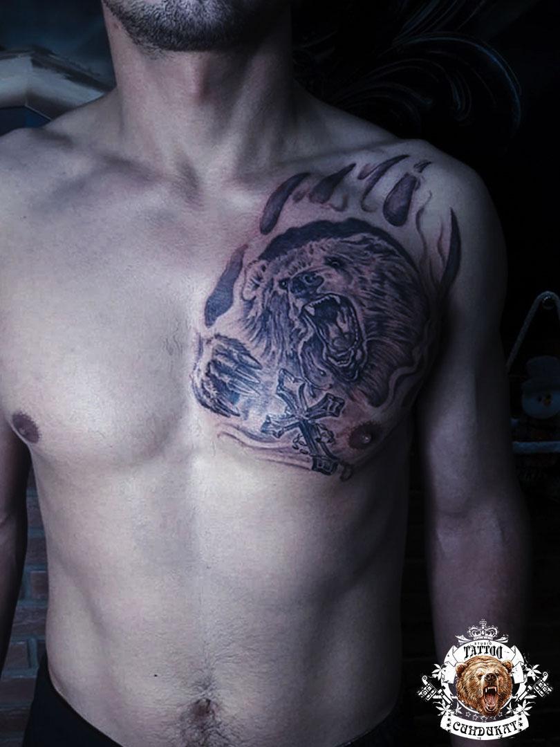 сделать тату на груди медведь в Красноярске